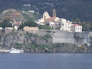 Rocca di Lipari view from the sea