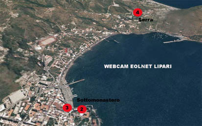 Position du Eolnet webcam à Lipari