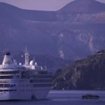 Eolie Island, Sicily:  Lipari - a cruiser off the port