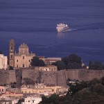 Eolie Island, Sicily:  Lipari - view over the Castello and the main Port