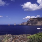 Eolie Island, Sicily, Italy: Vulcano - view over Lipari from Vulcano