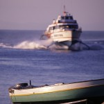 Eolie Islands, Sicily, Italy: Stromboli - an hydrofoil approaching