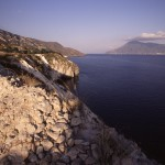 Eolie Island, Sicily:  Lipari - view over the island of Salina in the distance