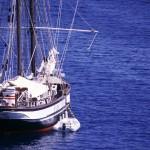 Eolie Islands, Sicily, Italy: Vulcano - a yacht off the coast