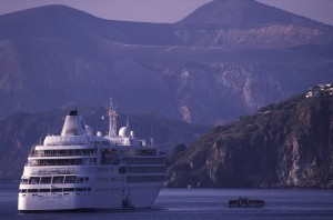Eolie Island, Sicily:  Lipari - a cruiser off the port